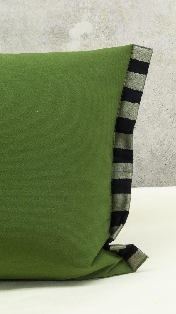Lendenkissen petrol olivgrün mit Baumwolleinfassung
