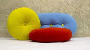 Drageekissenset in blau, gelb und rot aus Softshellstoff outdoor tauglich
