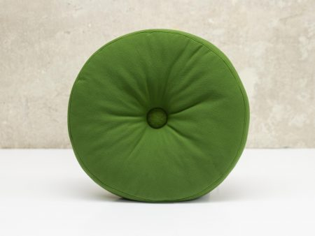 Rundes Kissen olivgrün aus Softshellstoff