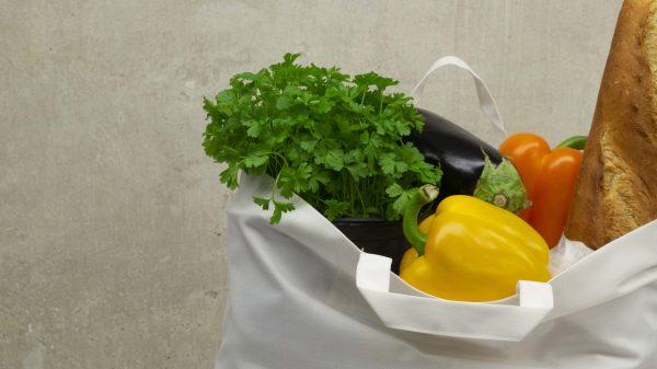 Hygienische, waschbare Markttasche mit Bodenteil