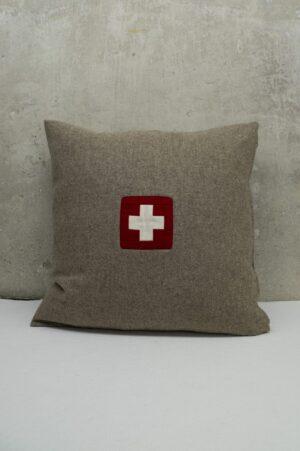 Schweizer Kissen quadratisches naturfarben